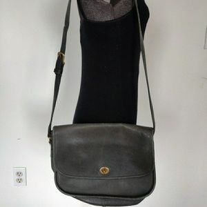 Vintage Coach Black Leather Flap Pouch Bag Purse